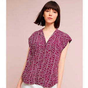 Anthro Maeve Large Raffine Blouse Squiggle Button